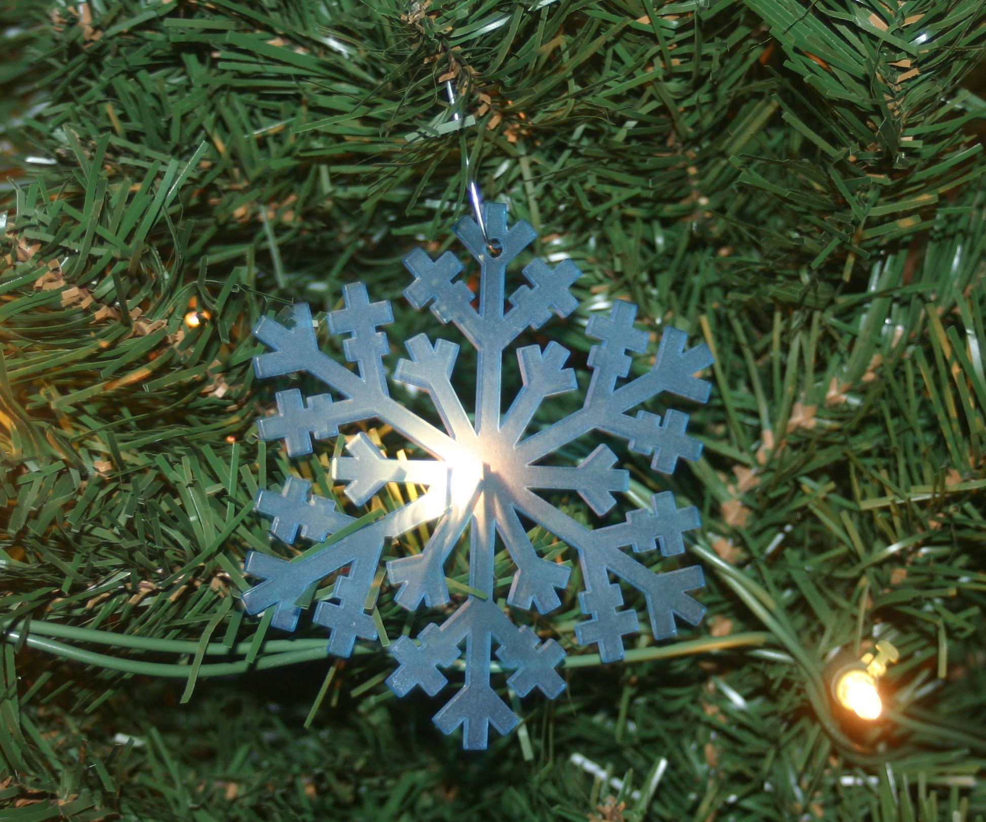 Frosted Clear Snow Flake Ornament