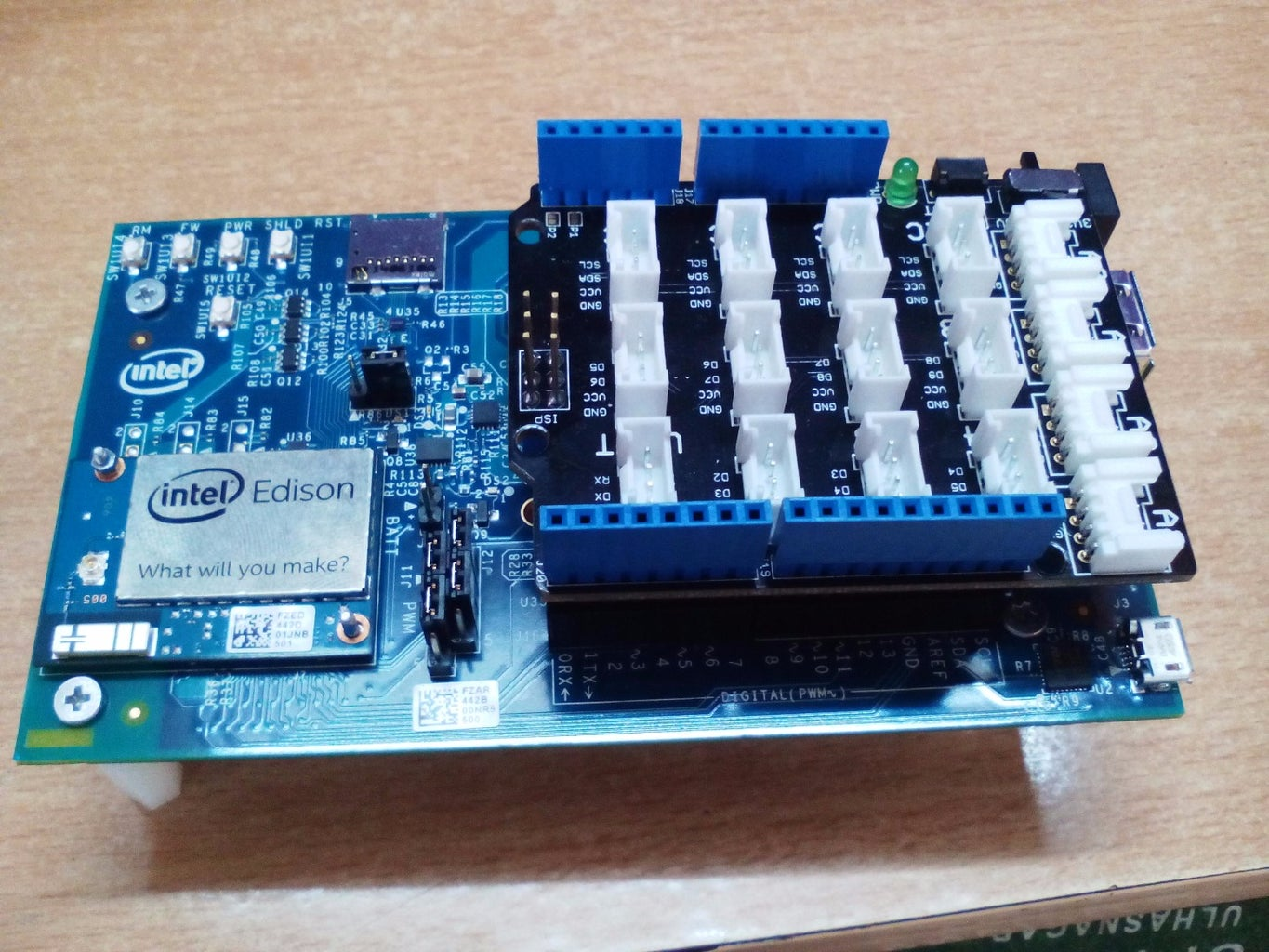 Connect the Base Shield to Intel Edison