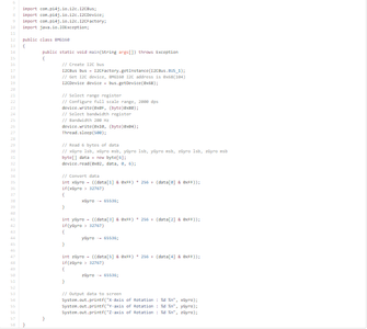3-Axis Gyroscope Measurement Using Java Code: