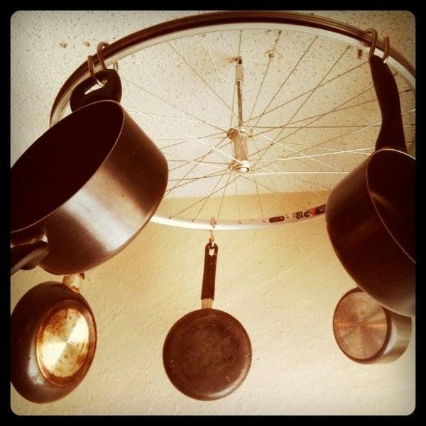 DIY Bicycle Wheel Pots and Pans Rack