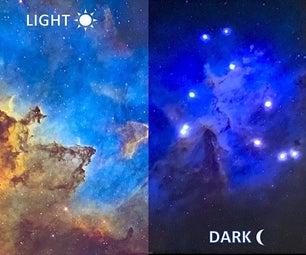 Nebula With Glowing LED Stars at Night