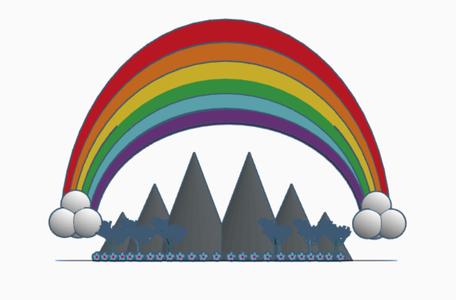 Rainbow Over a Mountain Range