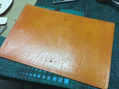 Punch Stitching Holes on Surface Leather and Dye Color.