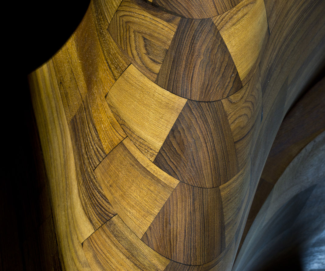 Inlayed Wood Scales on Spiral Staircase