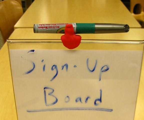 Sign-up Board Marker Holder