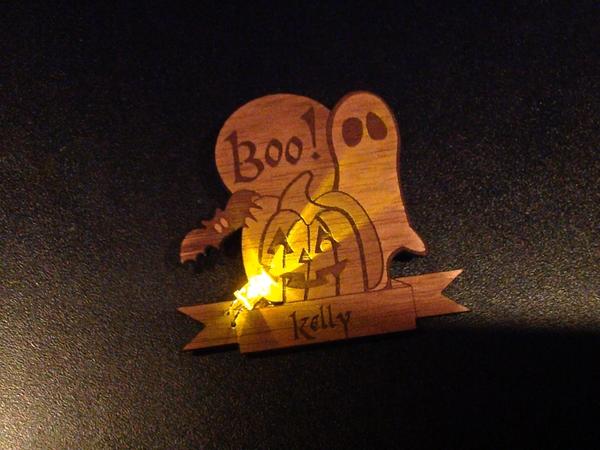 Made at Techshop - Flickering LED Laser-Cut Halloween Badge