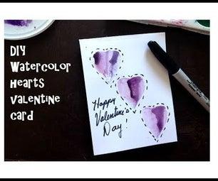 DIY - Valentine Card, - 3 Watercolor Hearts