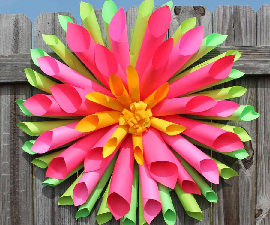 Dahlia Paper Flower Wreath