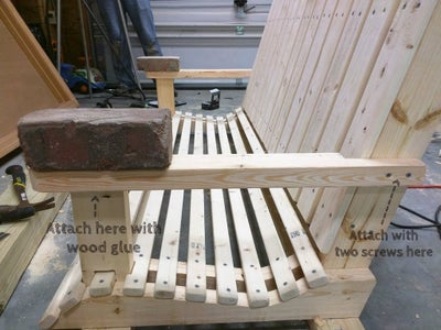 Attach Arm Rests to Vertical Support Boards.