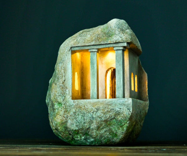 House in a Rock Using Cardboard