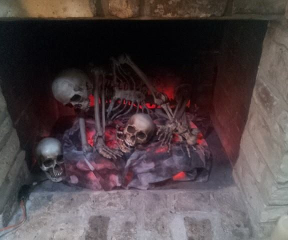 Halloween Skeleton Fireplace
