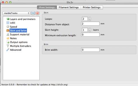 Basic Run : 3D Printed Part - Slicer Settings