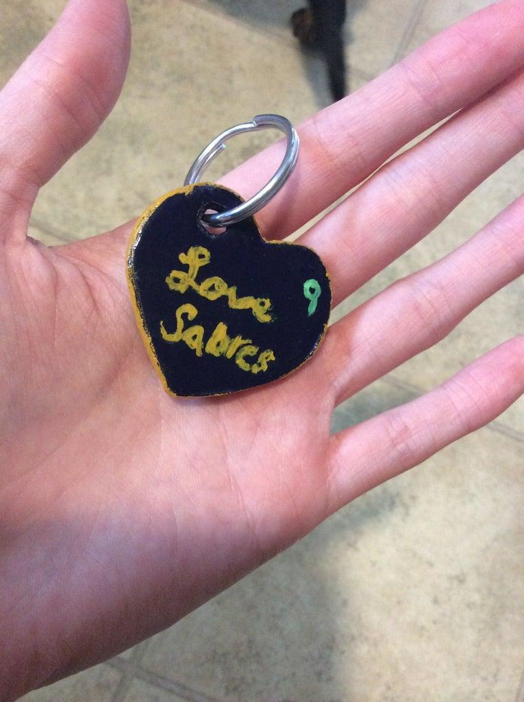 Paper Mache Heart Keychain
