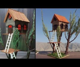 DIY |How to Make Miniature House on a Tree|Making a Small Wooden Lamination Sheet   House With Light