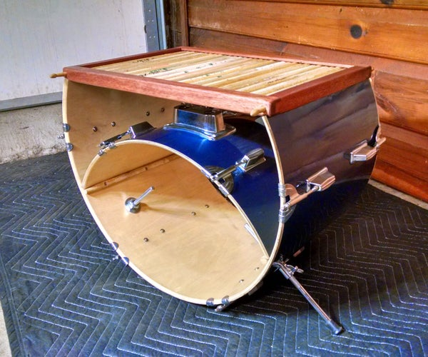 Bass Drum and Drum Stick Coffee Table