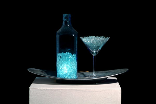 Glass Martini Night Light With Auto Light Sense