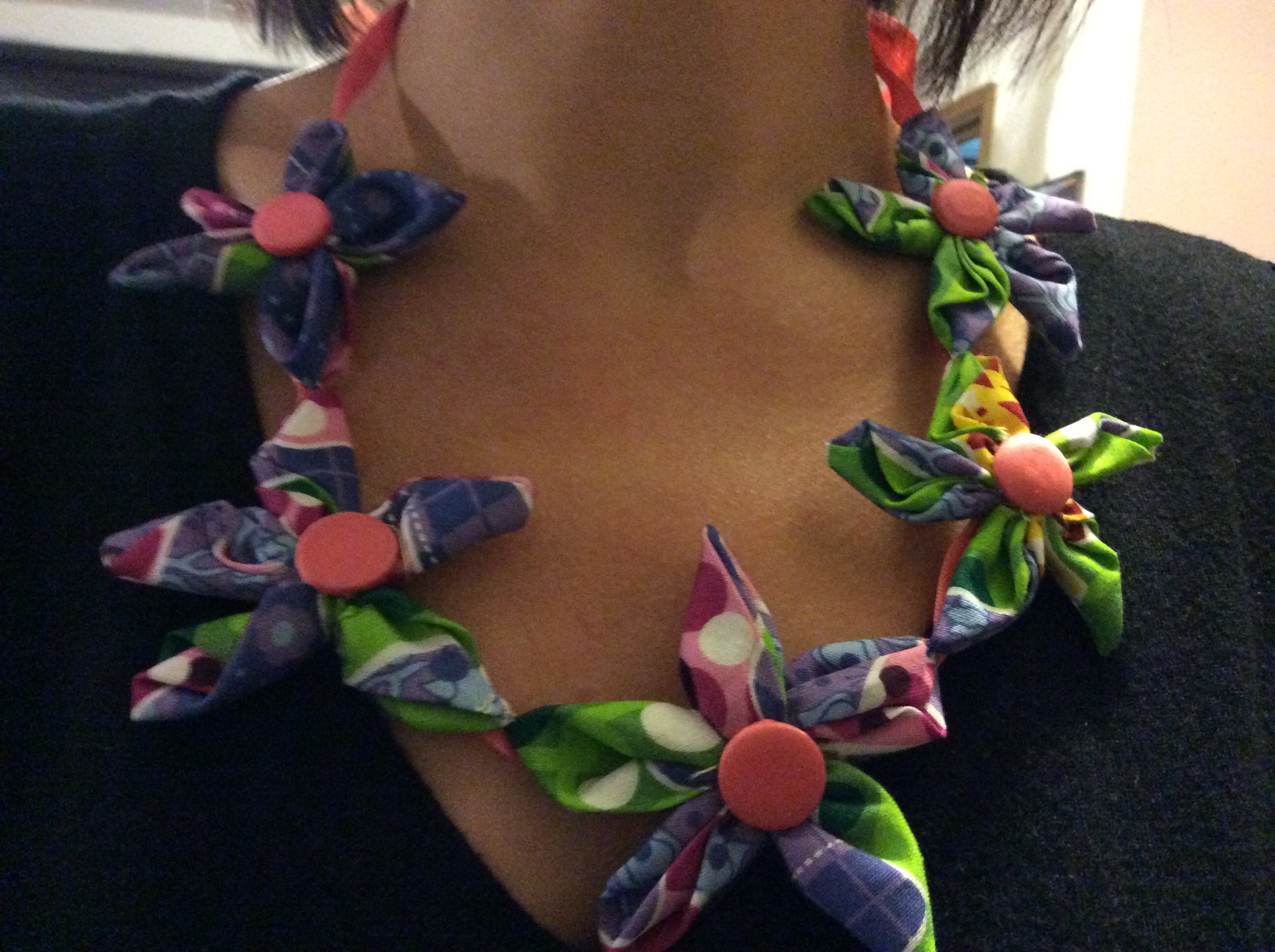 Cute Fabric Flower Necklace