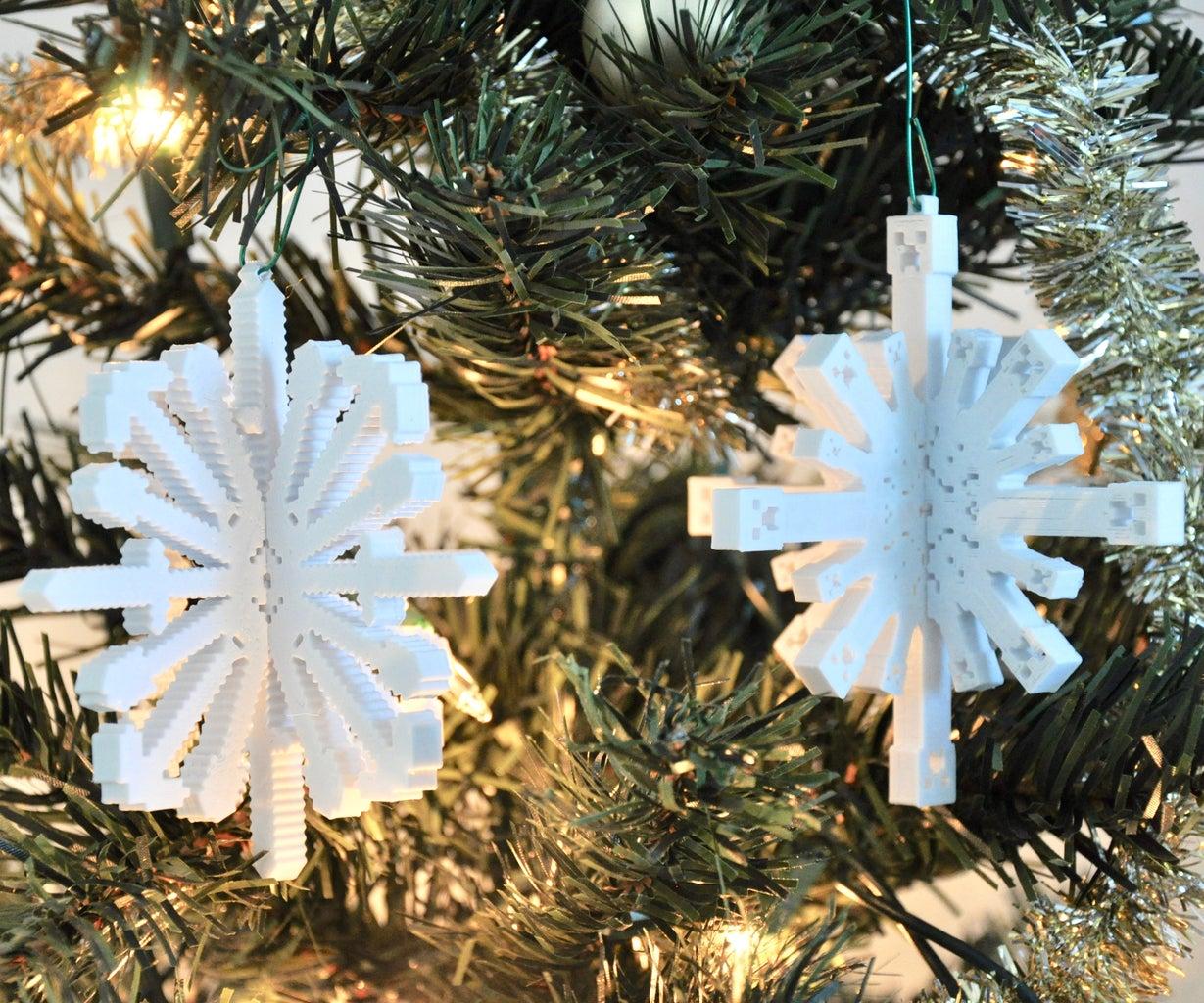 3D Printed Minecraft Snowflake Ornaments