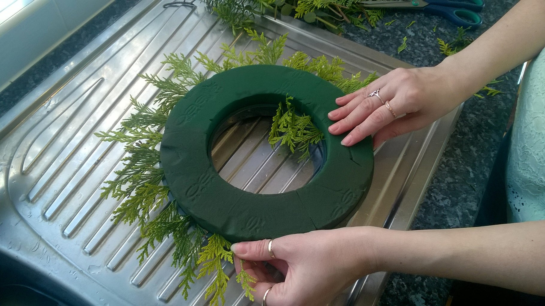 Wetting the Ring and Adding Foliage