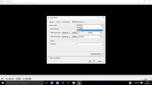 Change the Capture Mode to Desktop