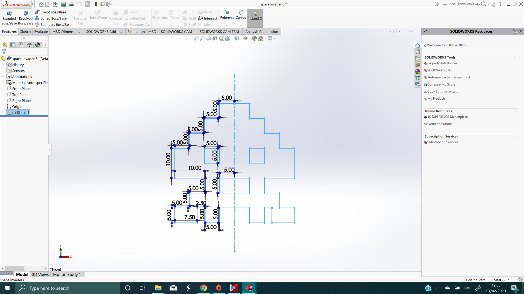 Step 2 : Draw the Design in Solidworks