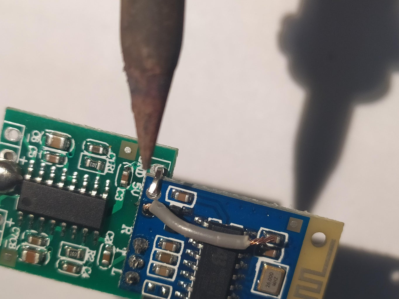 Soldering Vcc and Ground Pins on Bluetooth and Audio Amplifier Board