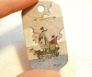 Colored Comic Book Image on a Wooden Dog Tag -easy Laser Printed Transfer-