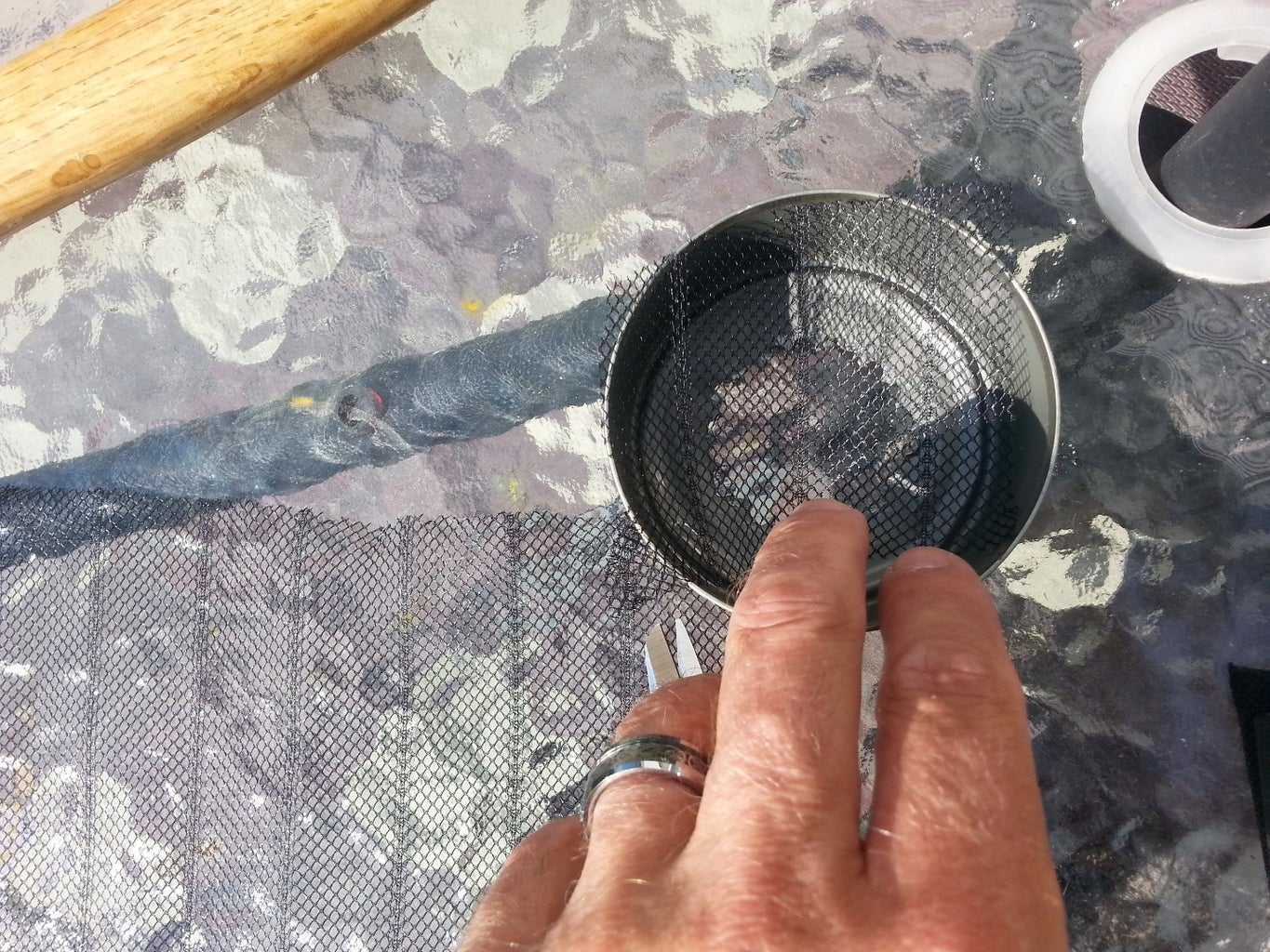 Cut and Insert Mesh, Cheese Cloth or Old Clean Sock
