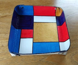 Leather Vanity / Coin Tray - Mondrian Style