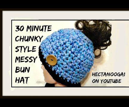 30 minute MESSY BUN hat, free crochet pattern