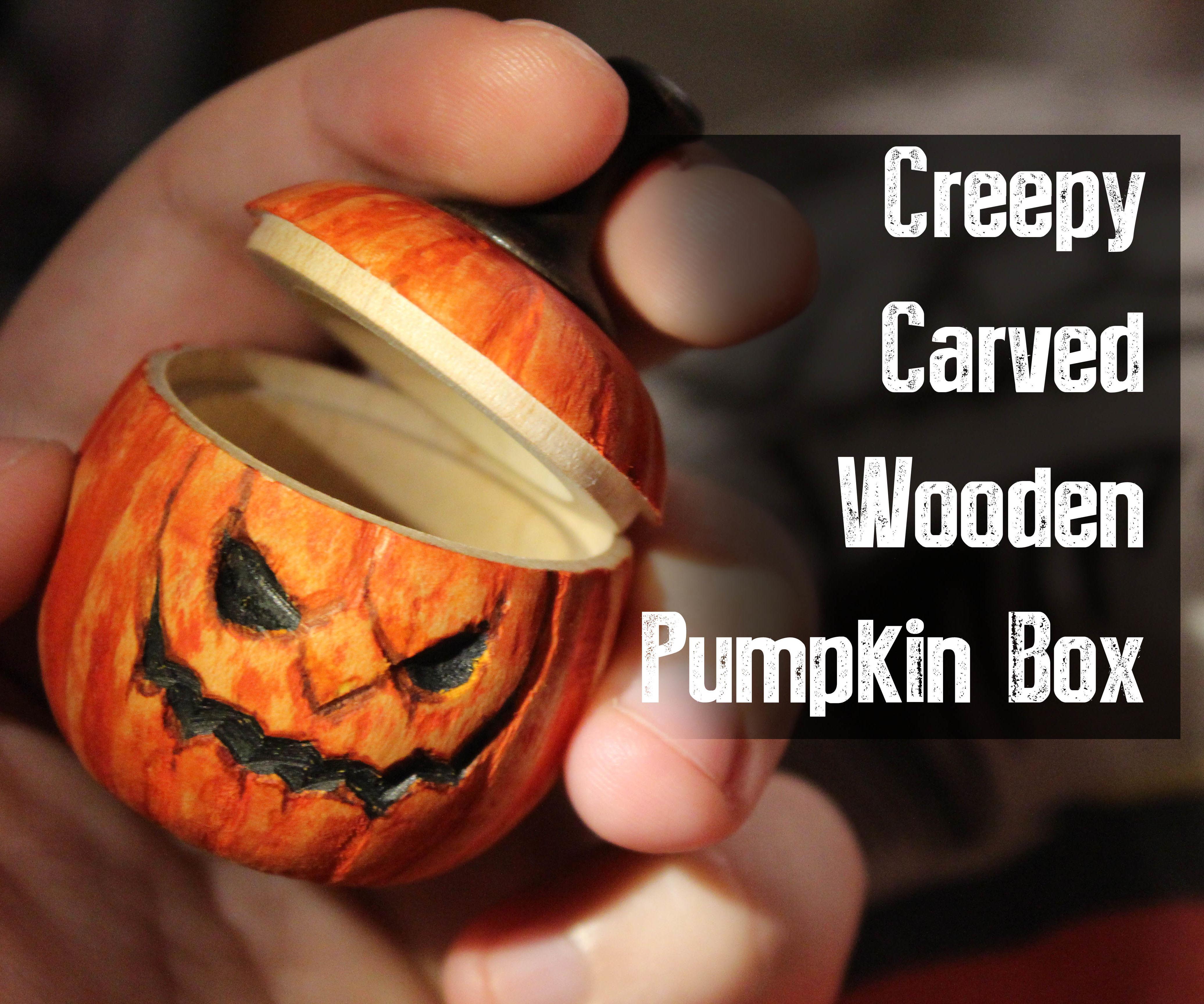Carved wooden pumpkin box