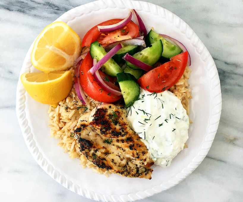 Greek Chicken and Rice Bowl