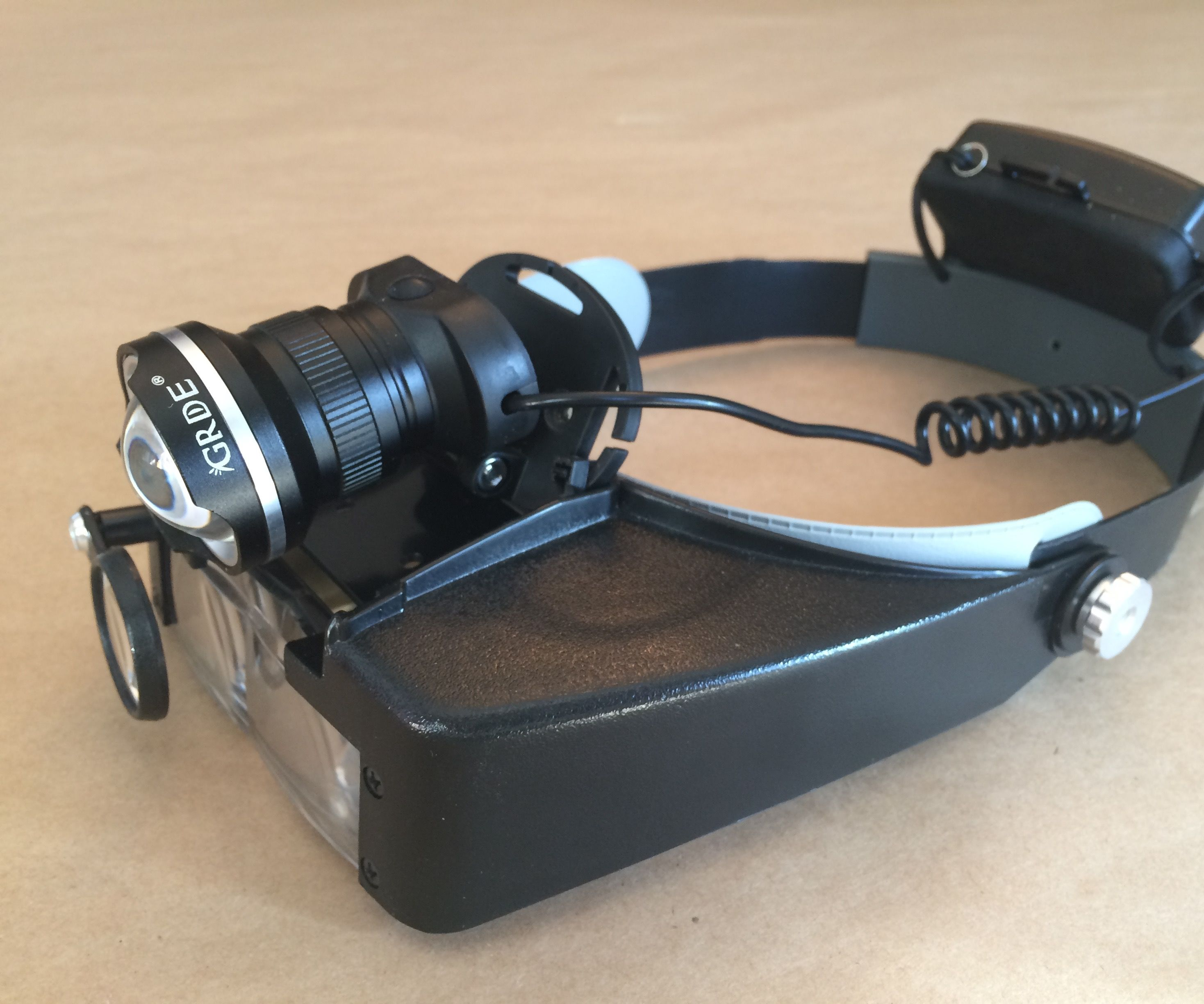 Cheap Bright Head-Mounted Magnifier