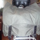 Bicycle saddle bag from an old military backpack