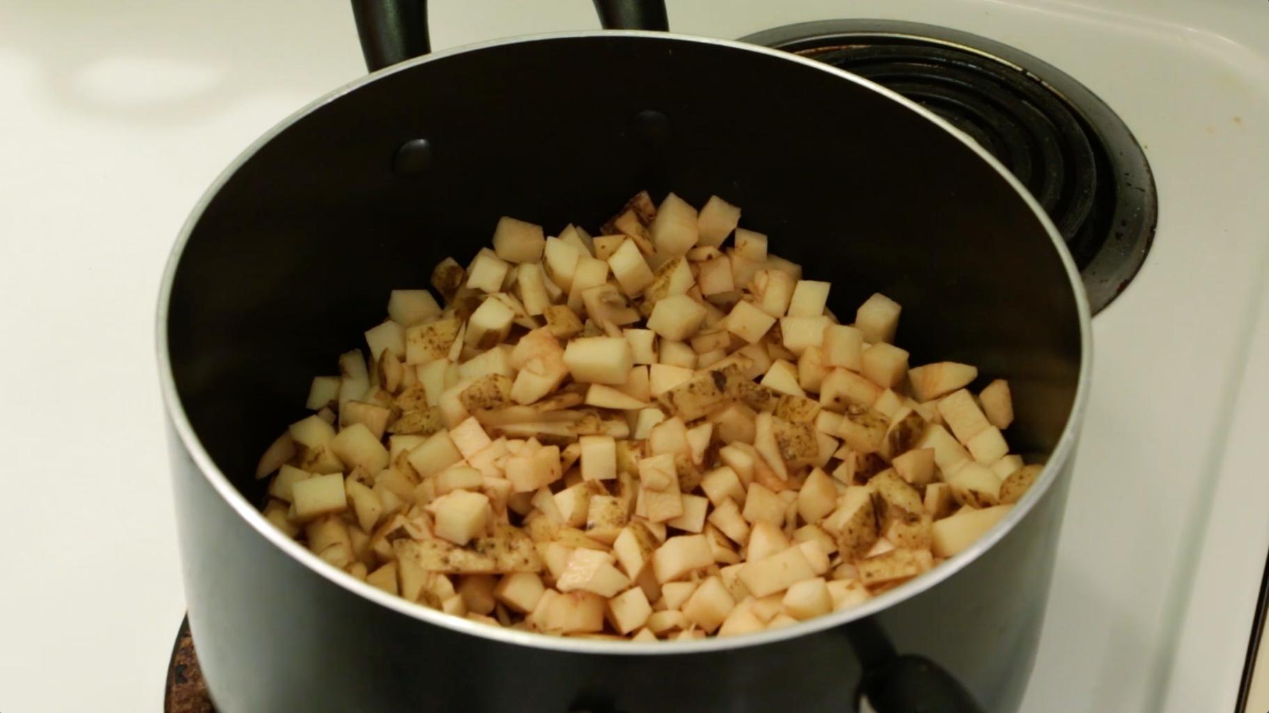 Combine Potatoes, Celery, Ham, and Onion