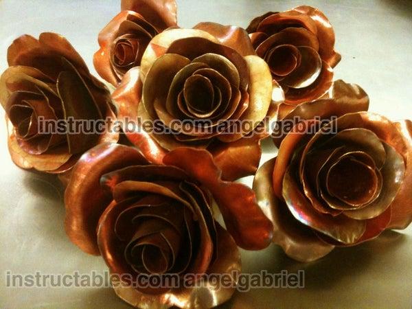 Metal Roses Art, Copper and Steel Sculpture