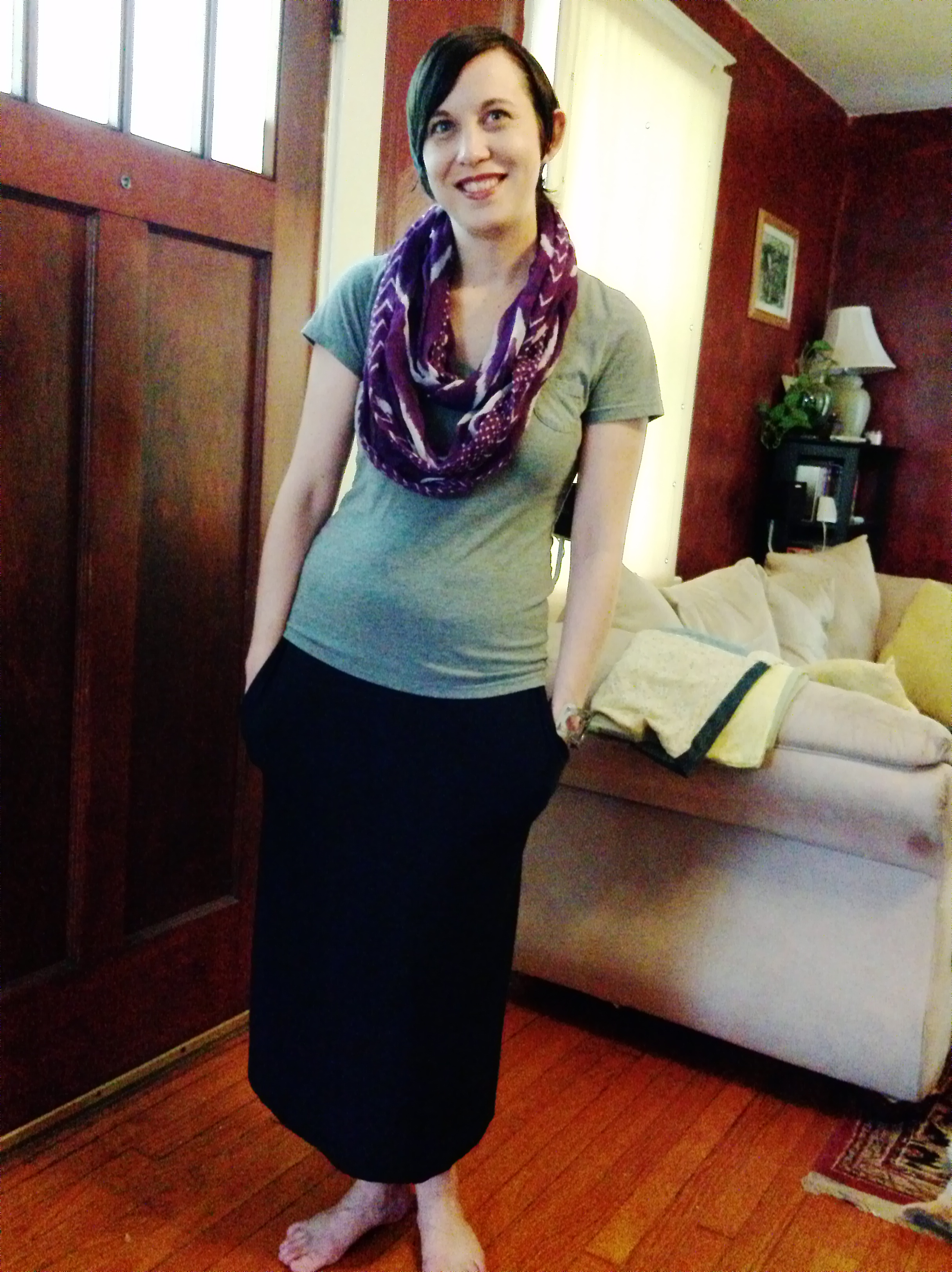 Simple skirt with hidden pockets, no pattern needed!