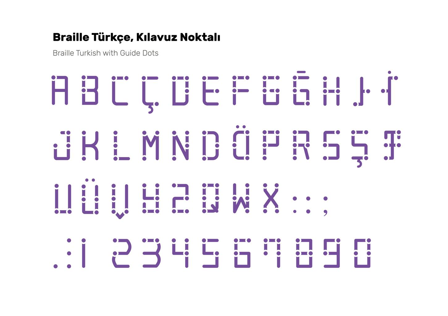 Braille Turkish Font & Stencil