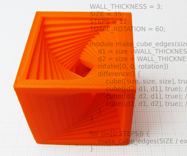 OpenSCAD Tutorial: Spiral Cube