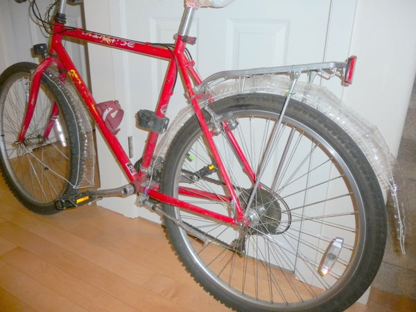 Bike Fenders From Water Bottles and Clothes Hangers