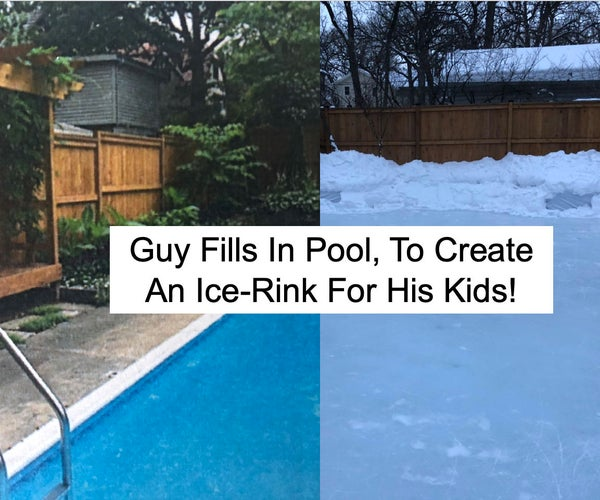 Guy Fills-In Pool With Dirt to Create an Ice Rink!