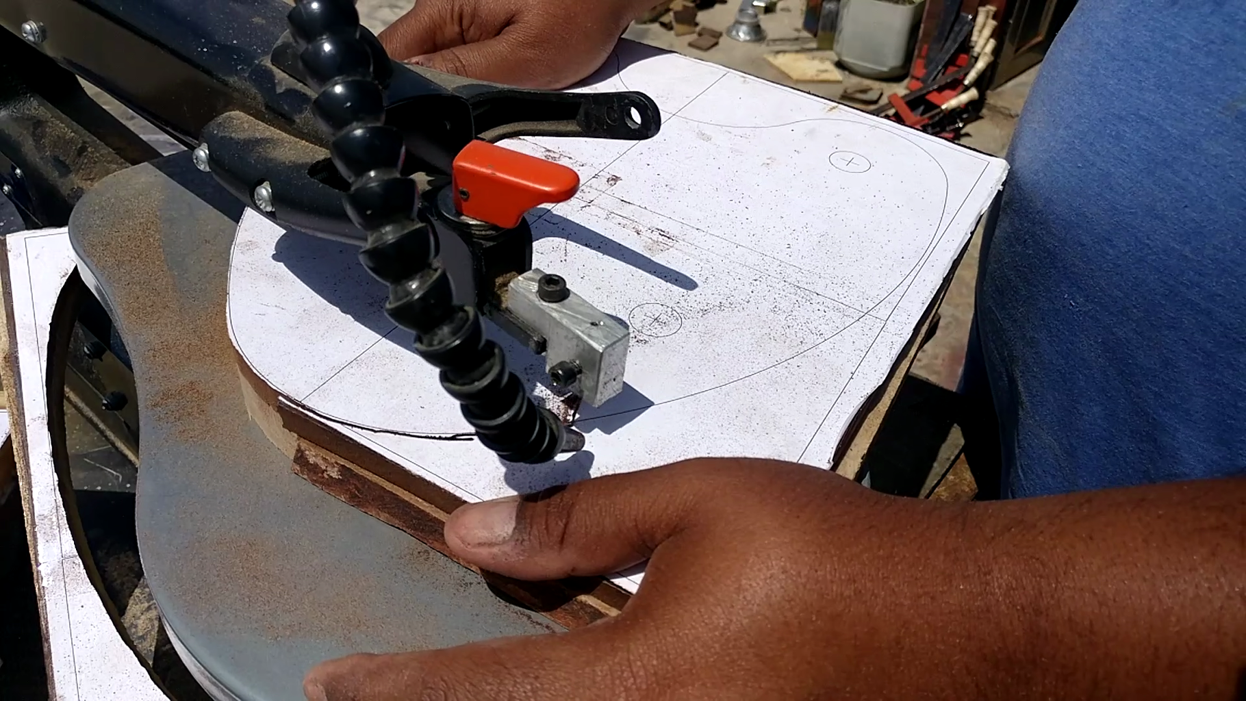 Cutting the Material According to the Template