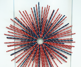 Red, White and Blue Paper Straw Wreath