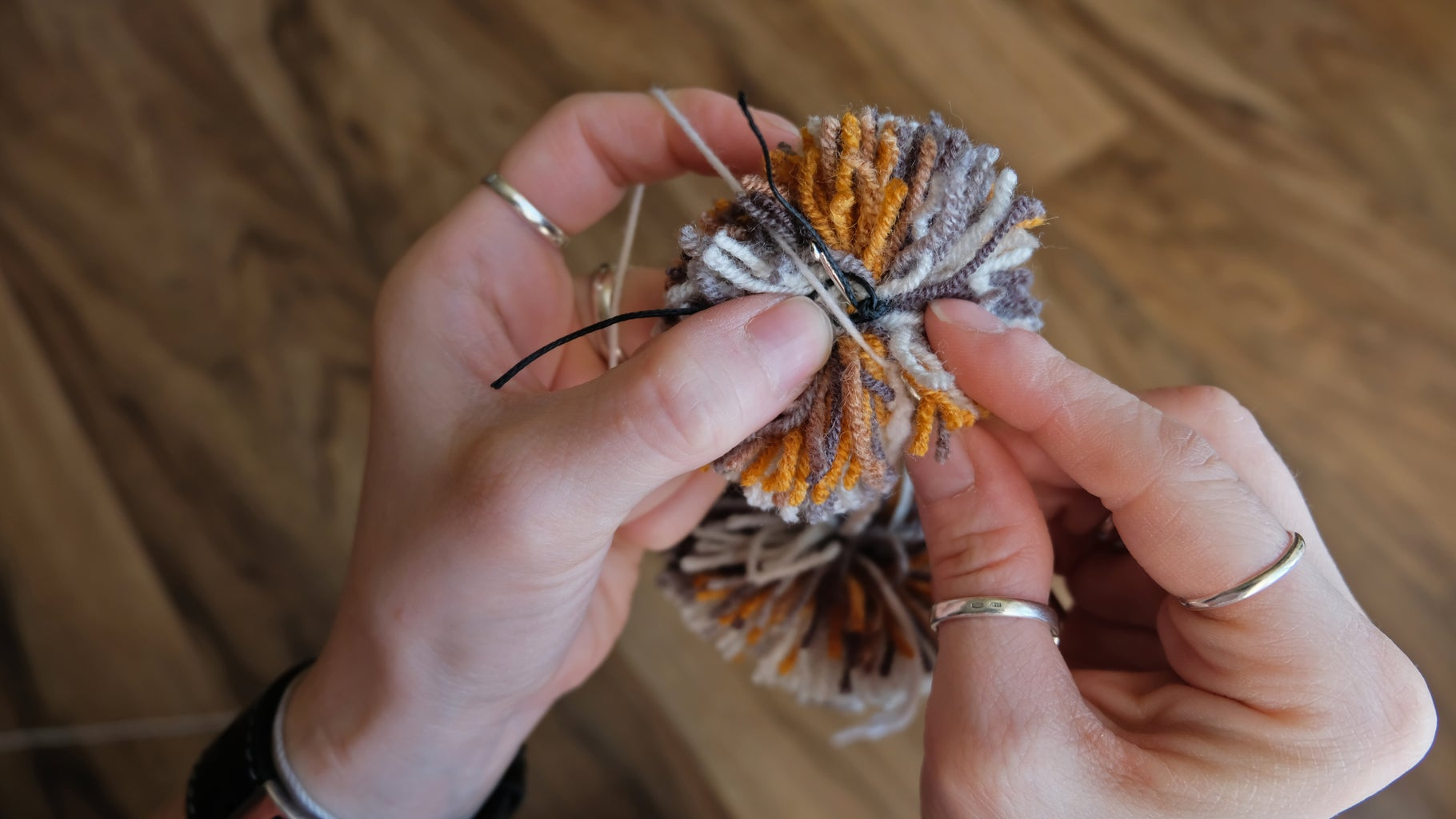 Crocheting. Connection With Next Pompom