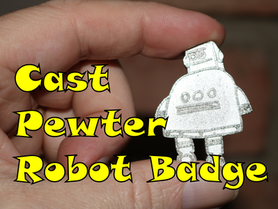 Cast Pewter Robot Badge