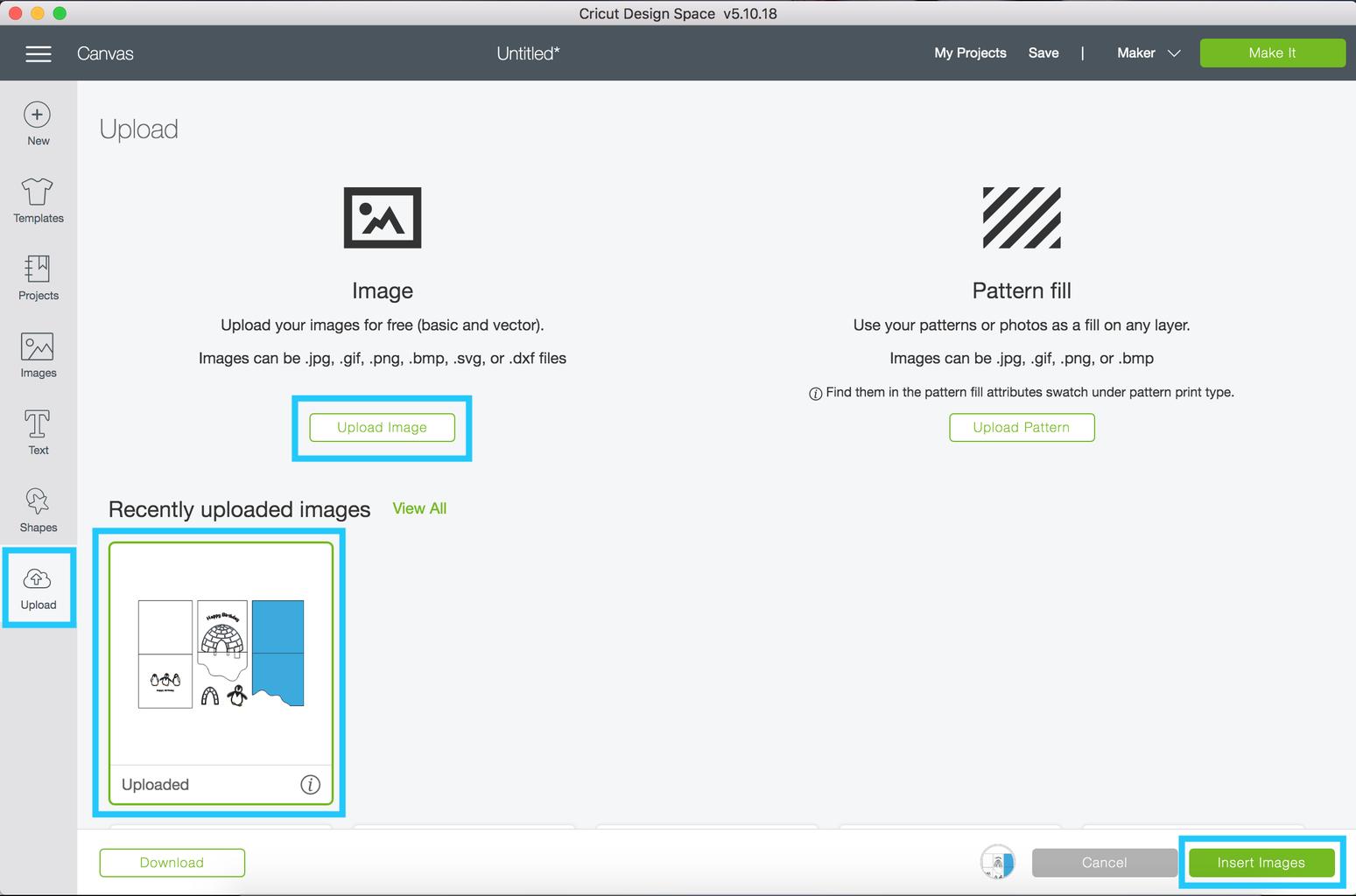 Add the Cutting File to Cricut Design Space