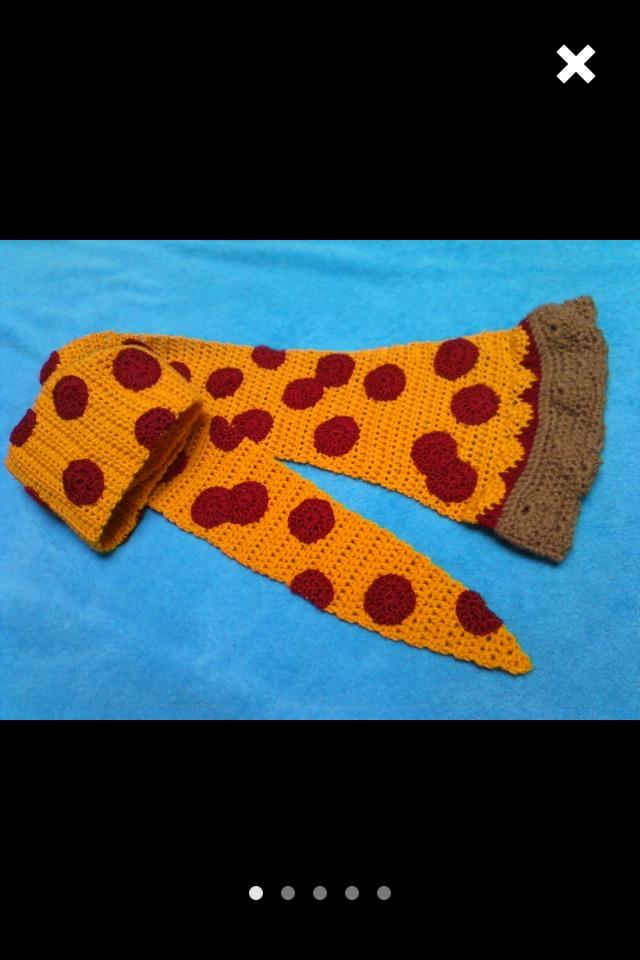 Crochet Pizza Scarf