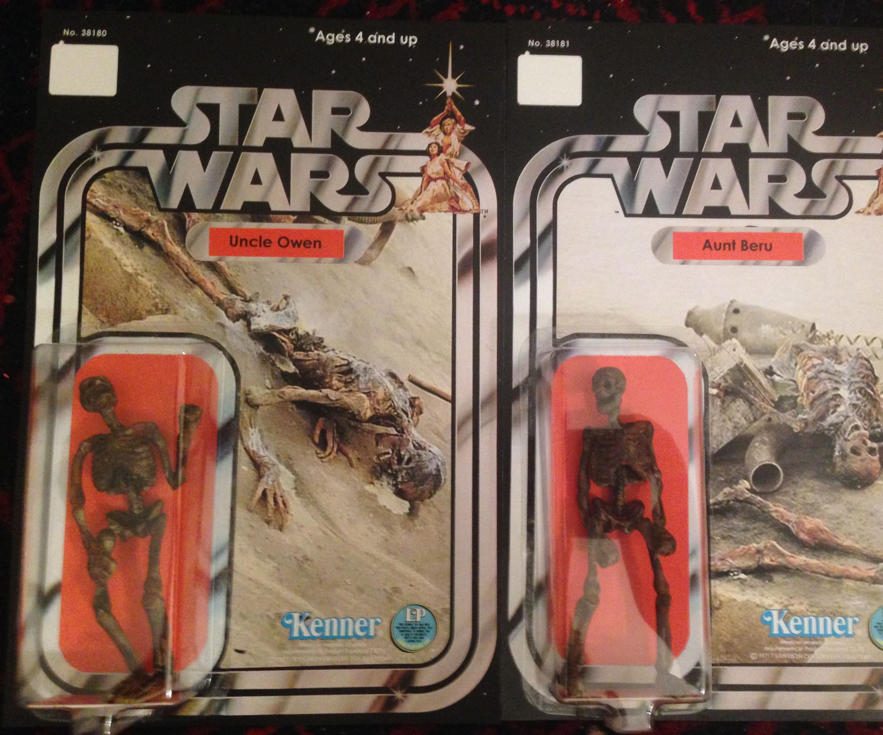 Custom Uncle owen and Aunt Beru Star Wars charred body figure.
