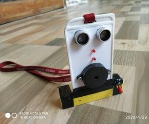 Social distancing safety card using ultrasonic sensor
