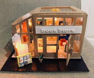 Lighted Book Store Scene